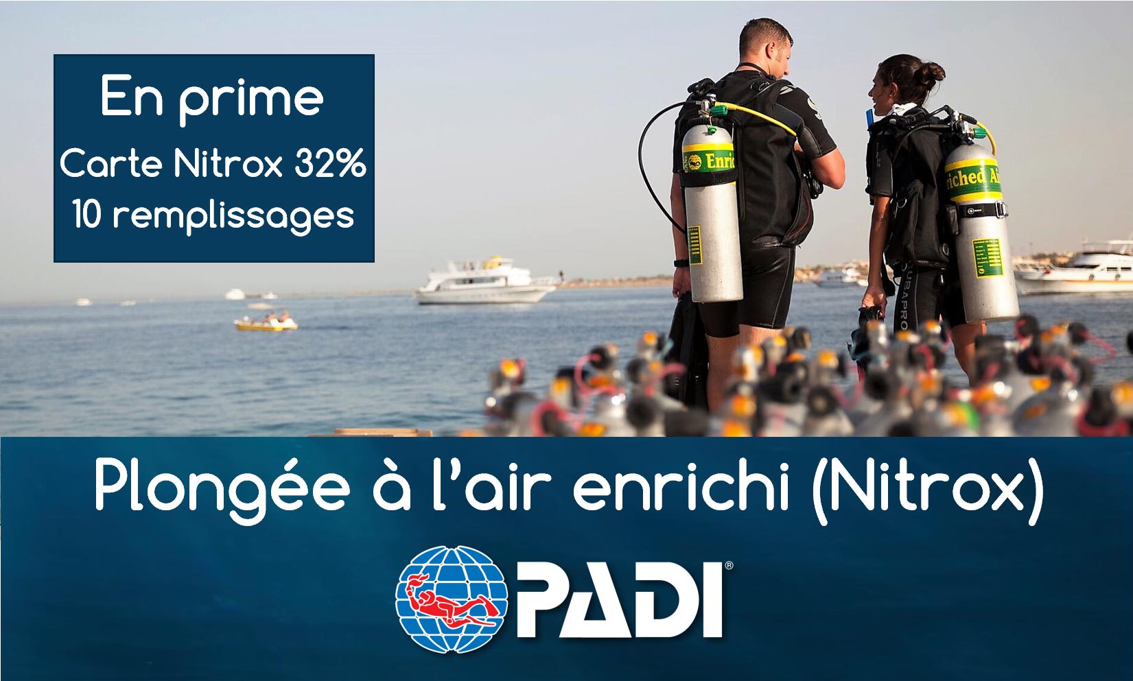 """Plongeur à l'air enrichi (NITROX) - Spécialité PADI (prochaine date: 12 décembre 2019) -¨EN PRIME CARTE 10 Remplissages NITROX 32%, une Valeur de 130$"""""""