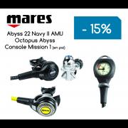 Ensemble Détendeur MARES Abyss Navy 22 AMU / Octopus Abyss / Console Mission 1 (en PSI)