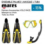 Ensemble palmes, masque et tuba MARES avec Volo Race